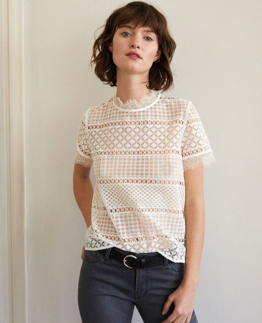 Openwork lace blouse White