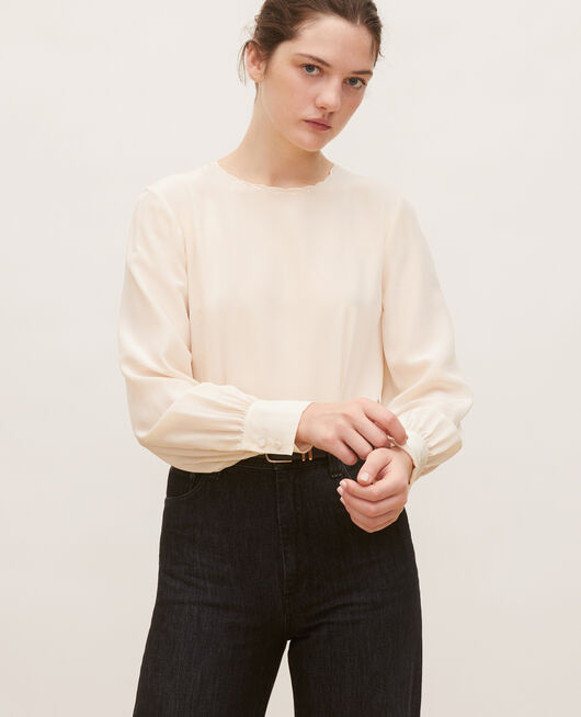 Embroidered silk blouse BUTTERCREAM