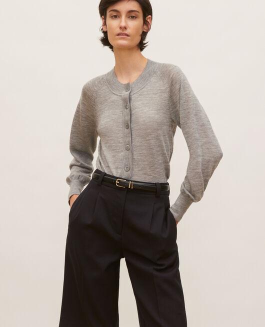 Round neck merino wool cardigan LIGHT GREY MELANGE
