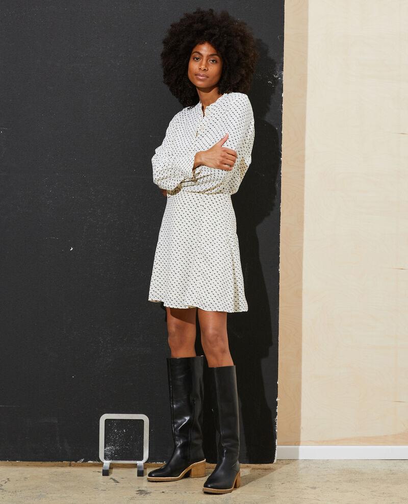 Printed mini skater skirt Birdy ivoire Pitite