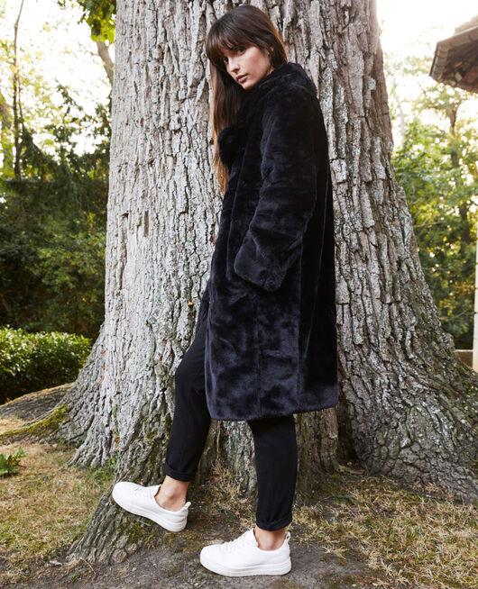 Synthetic fur coat NOIR