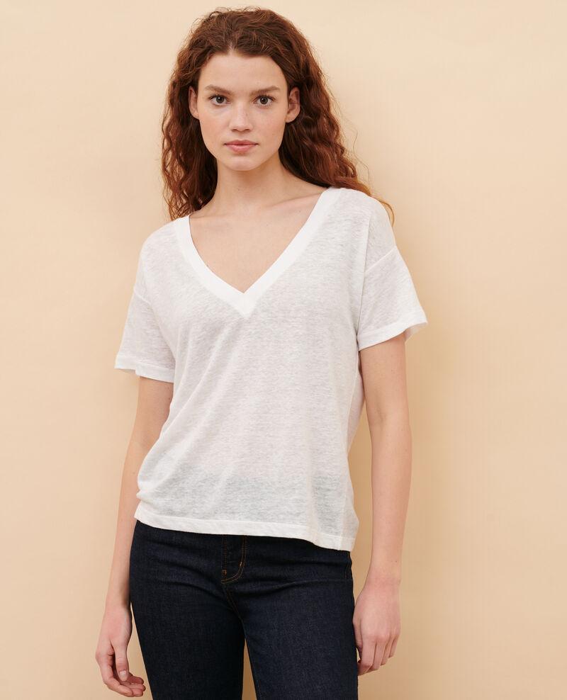Linen V-neck t-shirt Optical white Locmelar