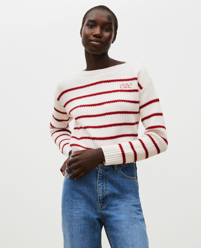 Boatneck striped wool jumper Stripe jetstream royalred Marseille