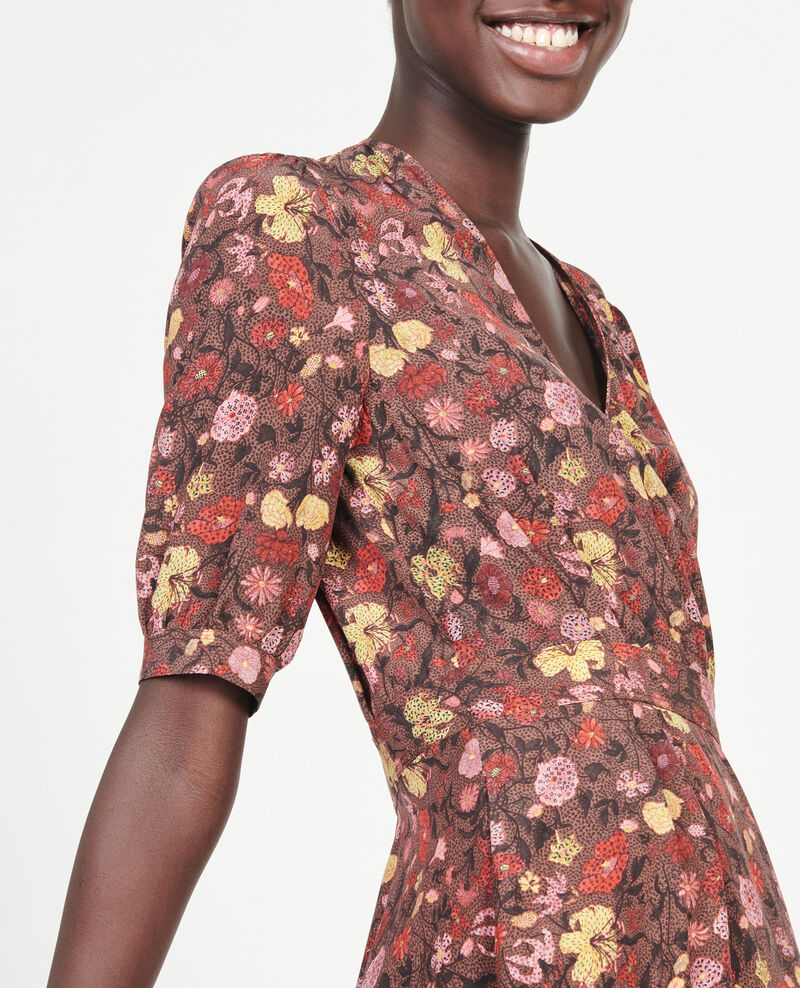 Floral silk wrap mini dress Print eden tortoiseshell Meanie