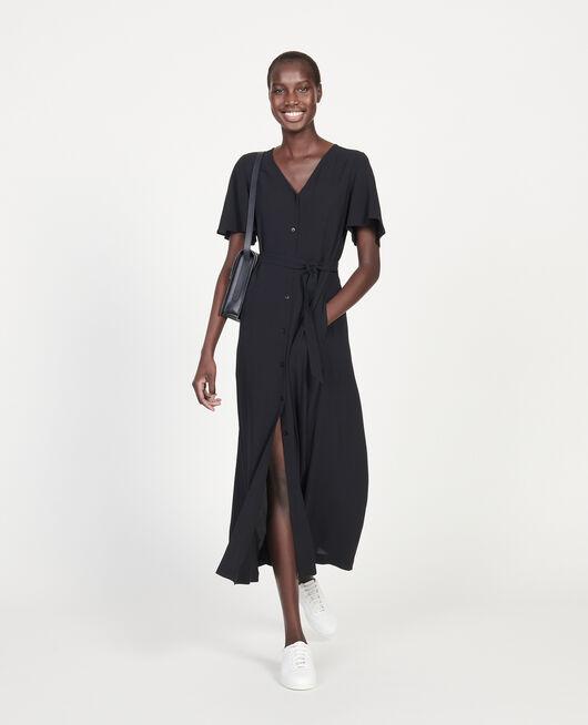 Viscose crêpe maxi dress BLACK BEAUTY