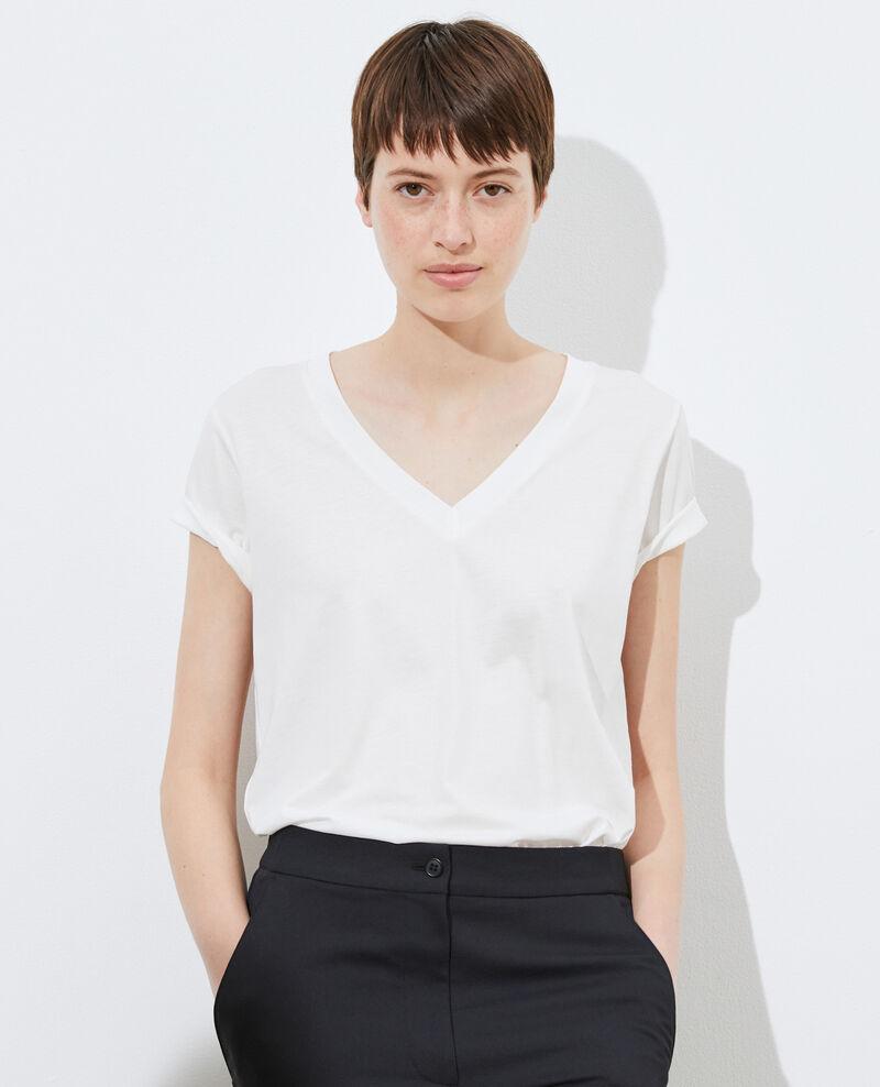 Loose V-neck t-shirt Cloud dancer Paberne