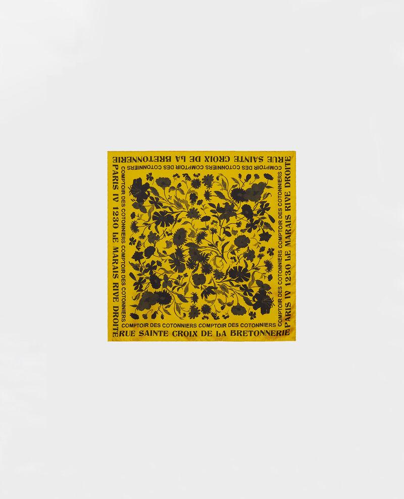 Square silk scarf Lemon curry Maraiche