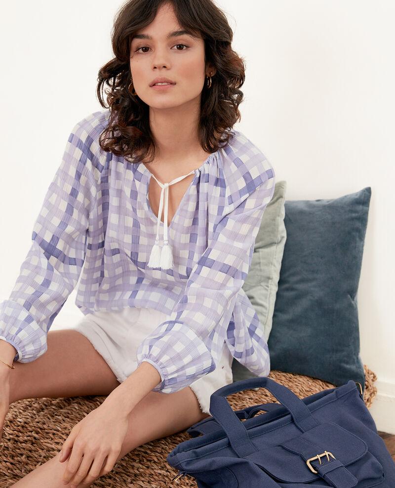 Printed blouse Ghingham iris Farine