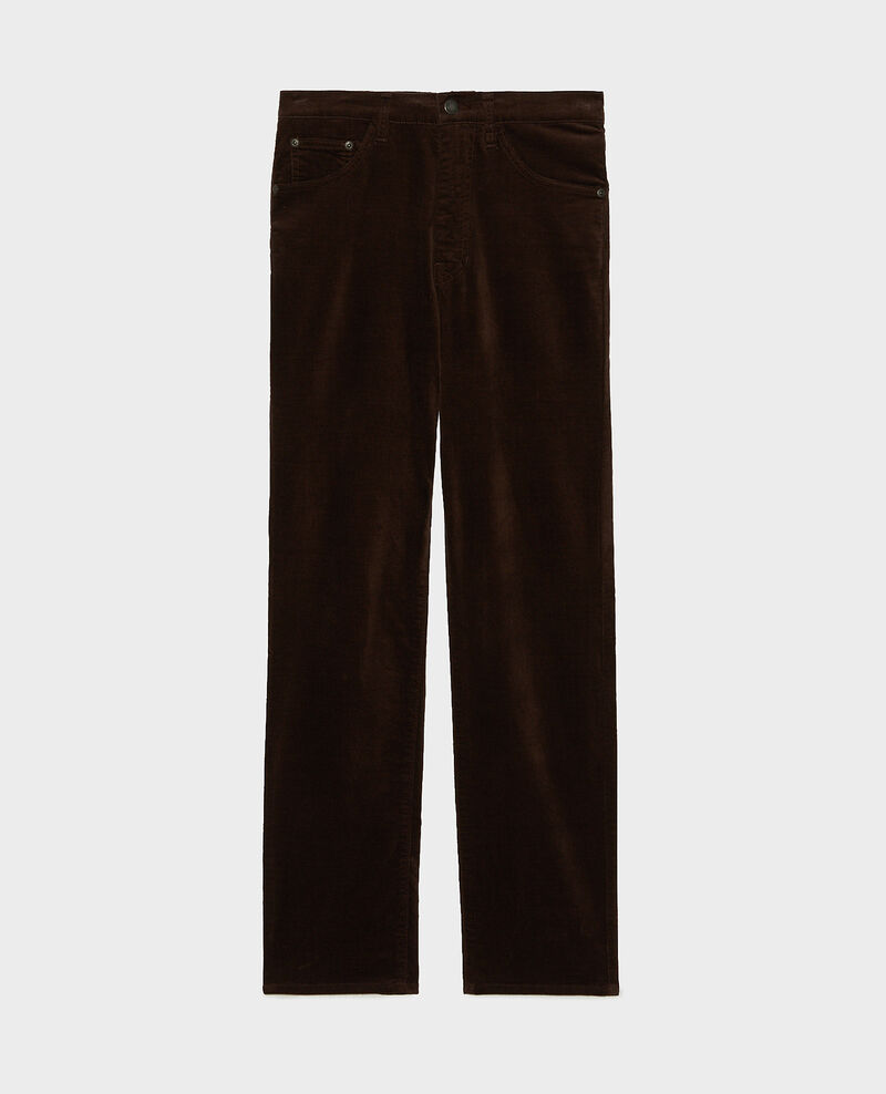 SLIM STRAIGHT - smooth velvet 5 pocket jeans Coffee bean Muillemin