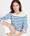 Zeitloser Wollpullover Stripes princess blue gardenia Liselle