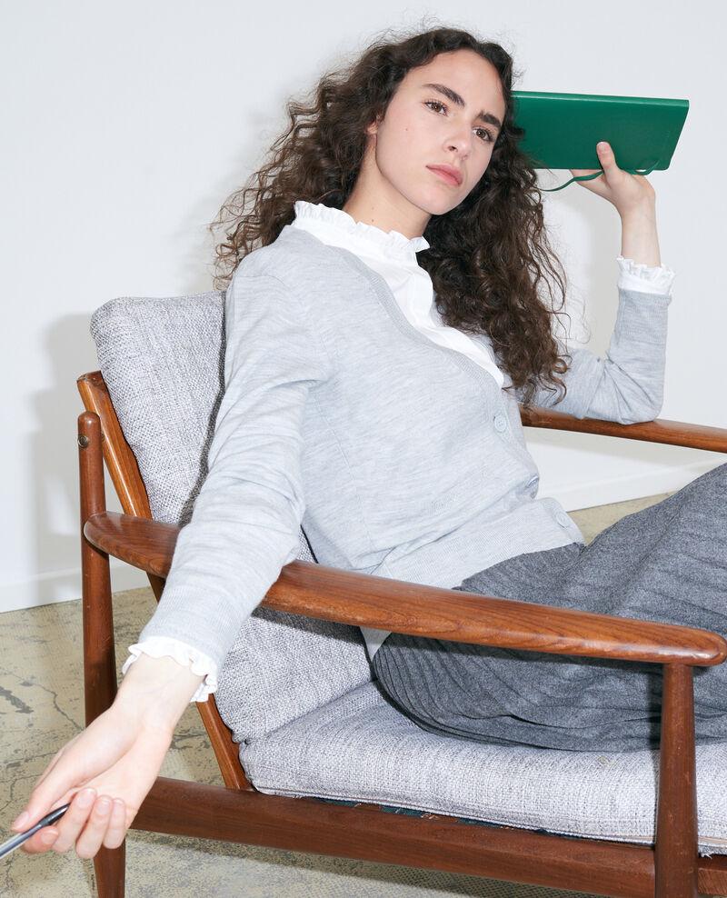 Cropped wool cardigan Melange grey Palabre