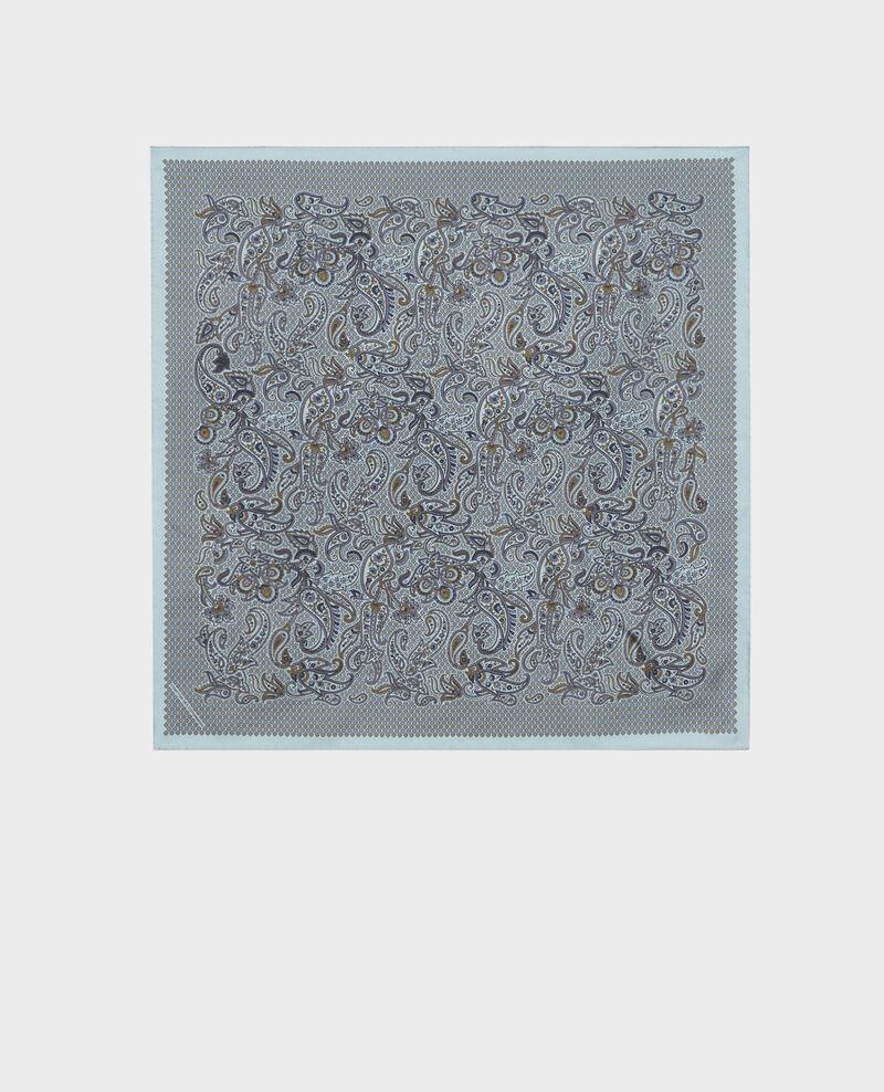 Printed silk scarf Stone blue Pachemire