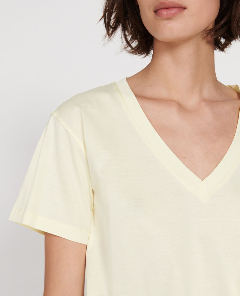 V-neck cotton t-shirt Tender yellow Laberne