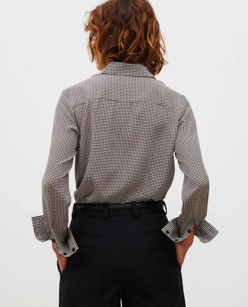 Long-sleeve silk shirt Print damiers coffee bean Misabethou
