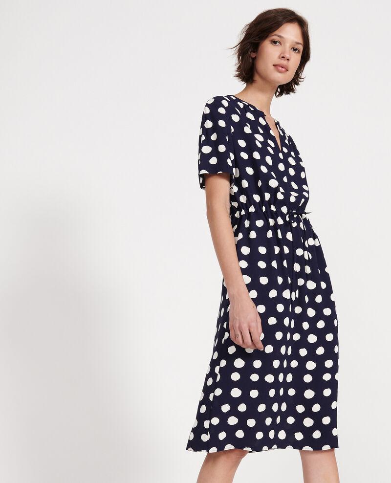 Straight and loose dress Dots maritime blue Legrais