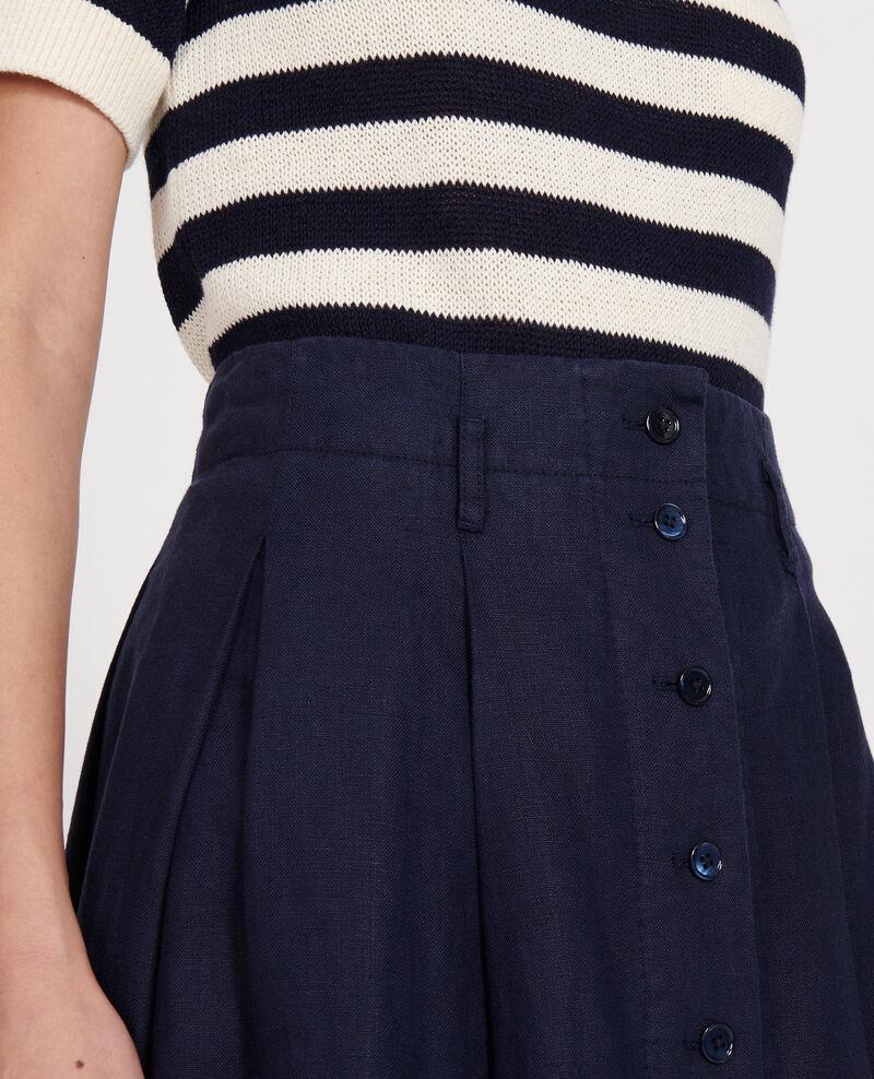 Loose linen skirt Maritime blue Lorlange