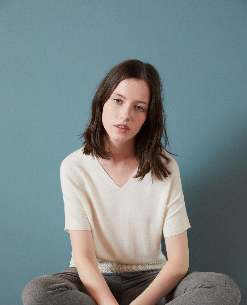 Zero-stitching short-sleeved knit White Gemilio