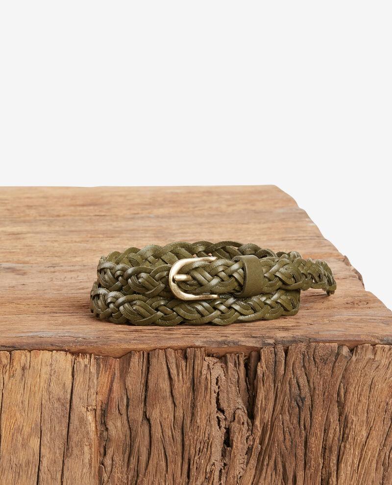 Braided leather belt Kaki Fronce