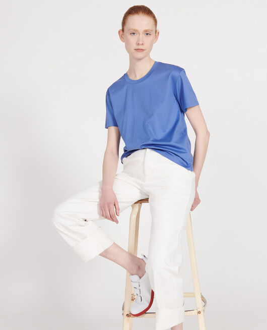 Round neck cotton t-shirt AMPARO BLUE