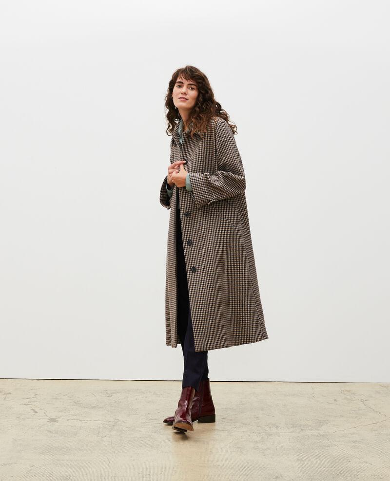 Wool tweed oversize coat Houndtooth-latte Magnan