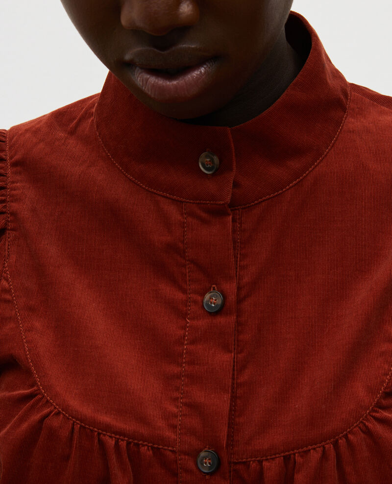 Corduroy yoke shirt Brandy brown Miglos