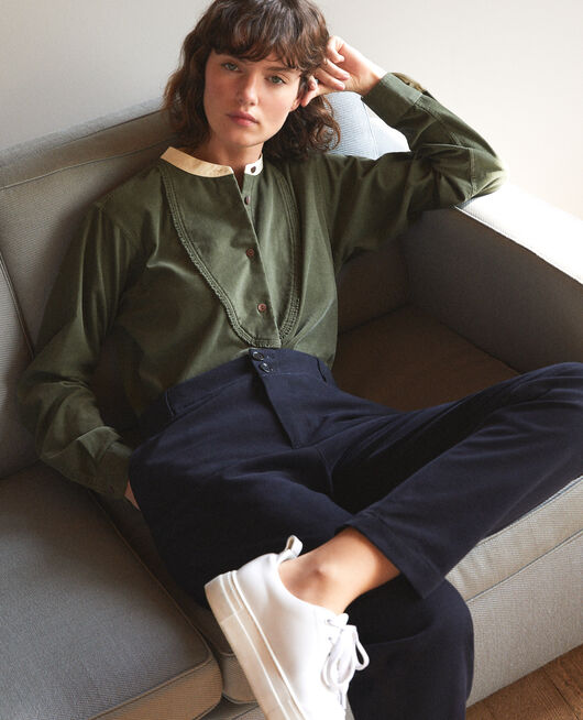 Velvet shirt with mandarin collar Green