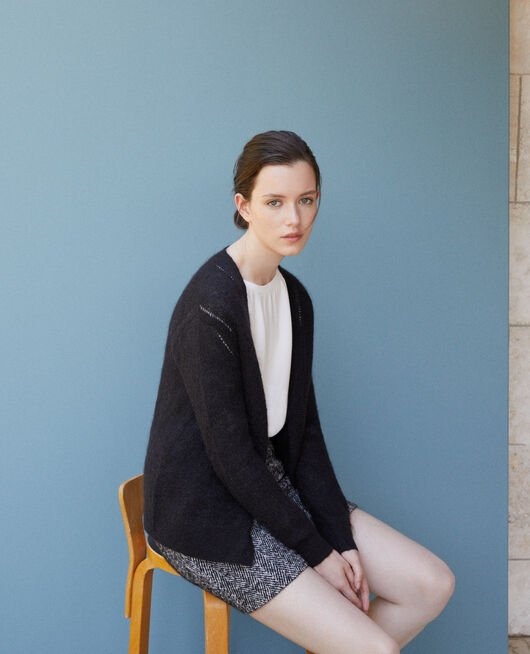Cardigan with mohair Black