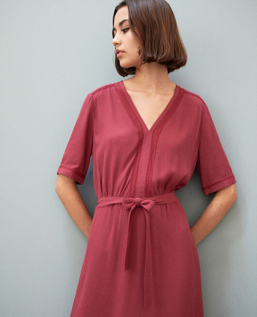 Dress with embroidered inserts EARTH RED
