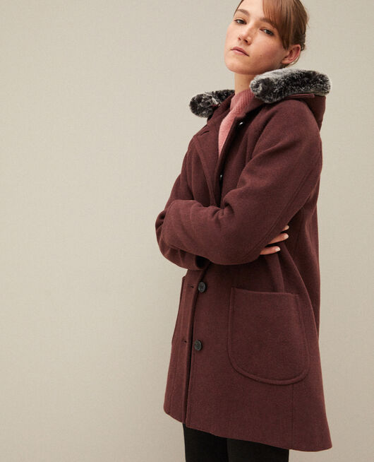 Hooded coat Brown