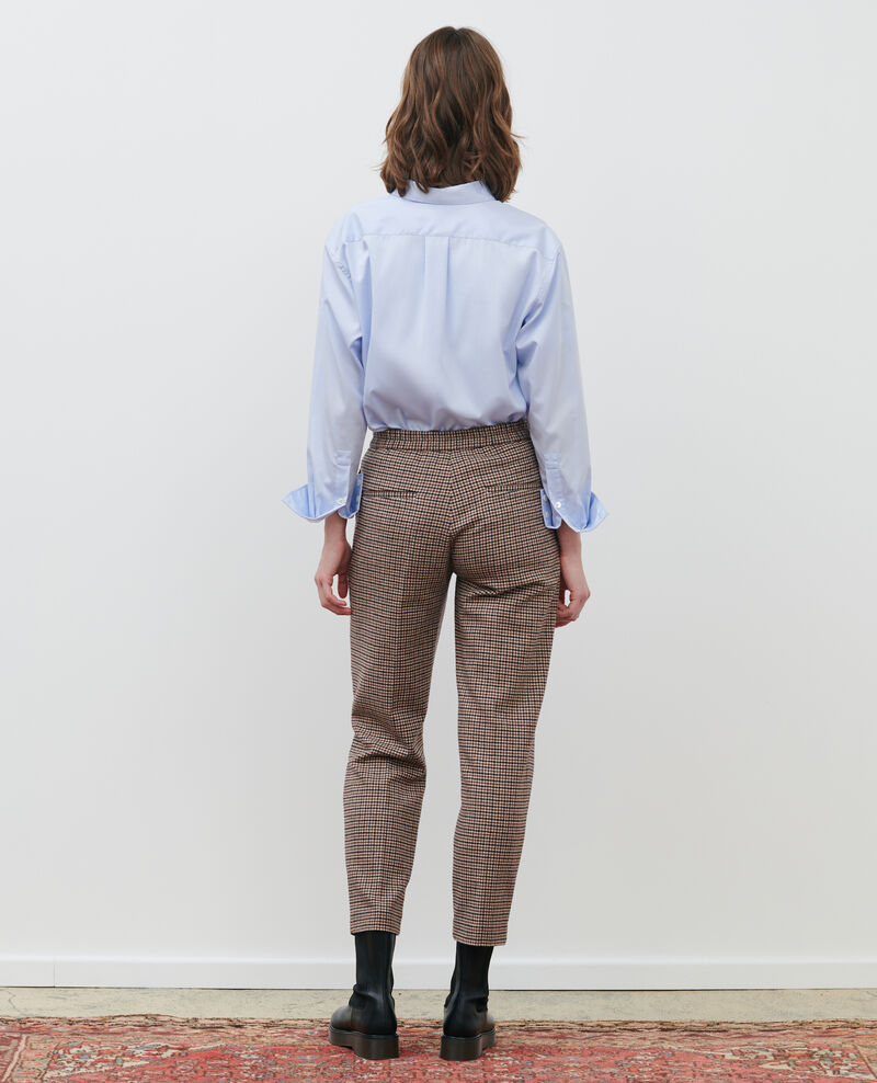 MARGUERITE trousers, wool blend 7/8 pants Check Popeille