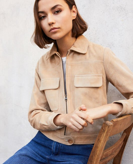 Short suede jacket Beige