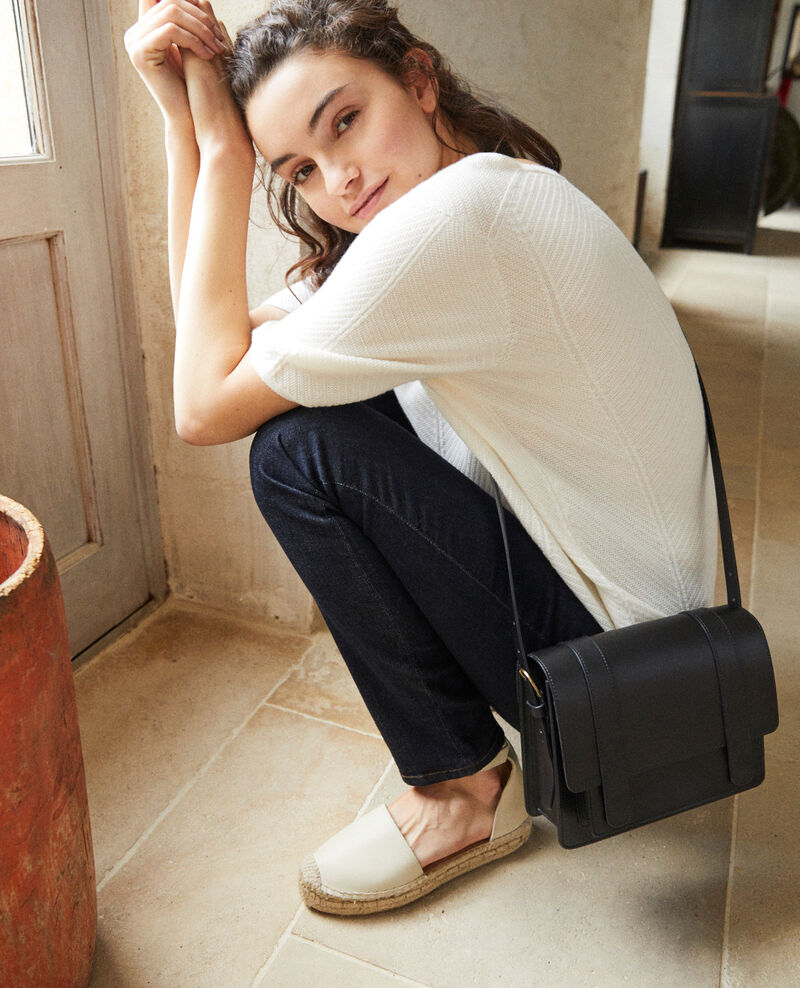 Smooth leather bag, small model Noir Garta