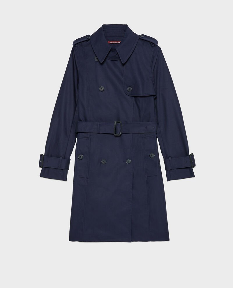 CATHERINE -Mid-length cotton belted trench Night sky Mambert