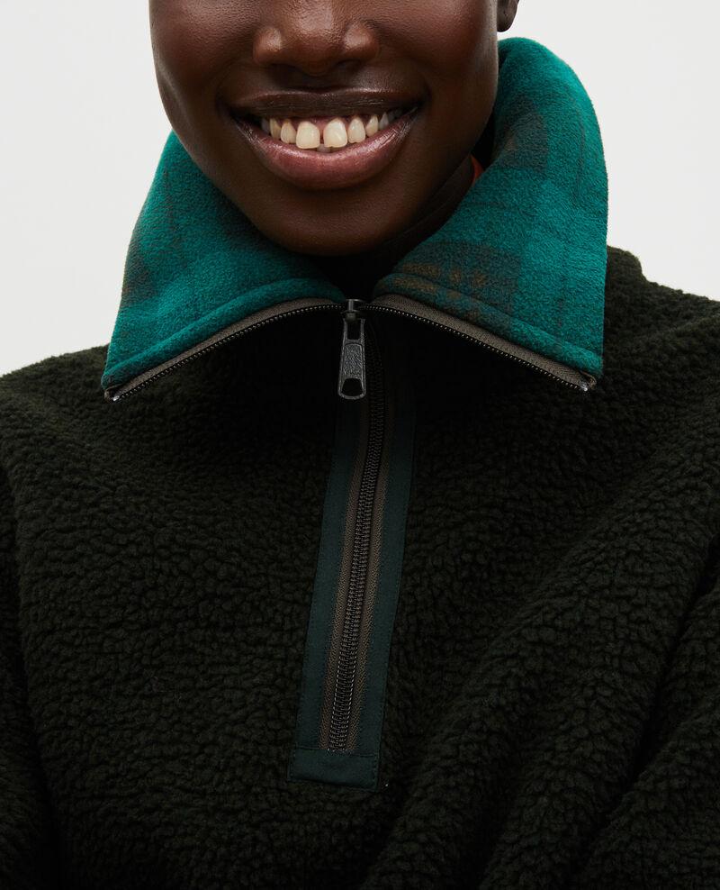 Fleece half-zip jumper with tartan collar Scarab Marson