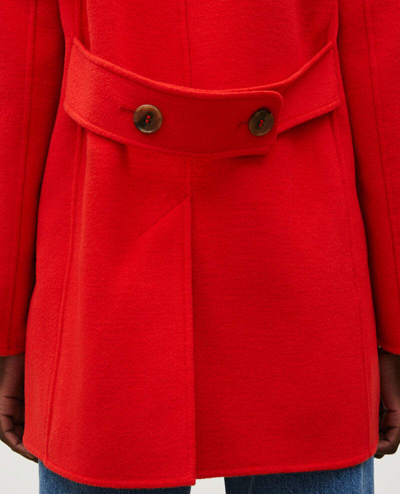 Double-sided wool pea coat Fiery red Lintot
