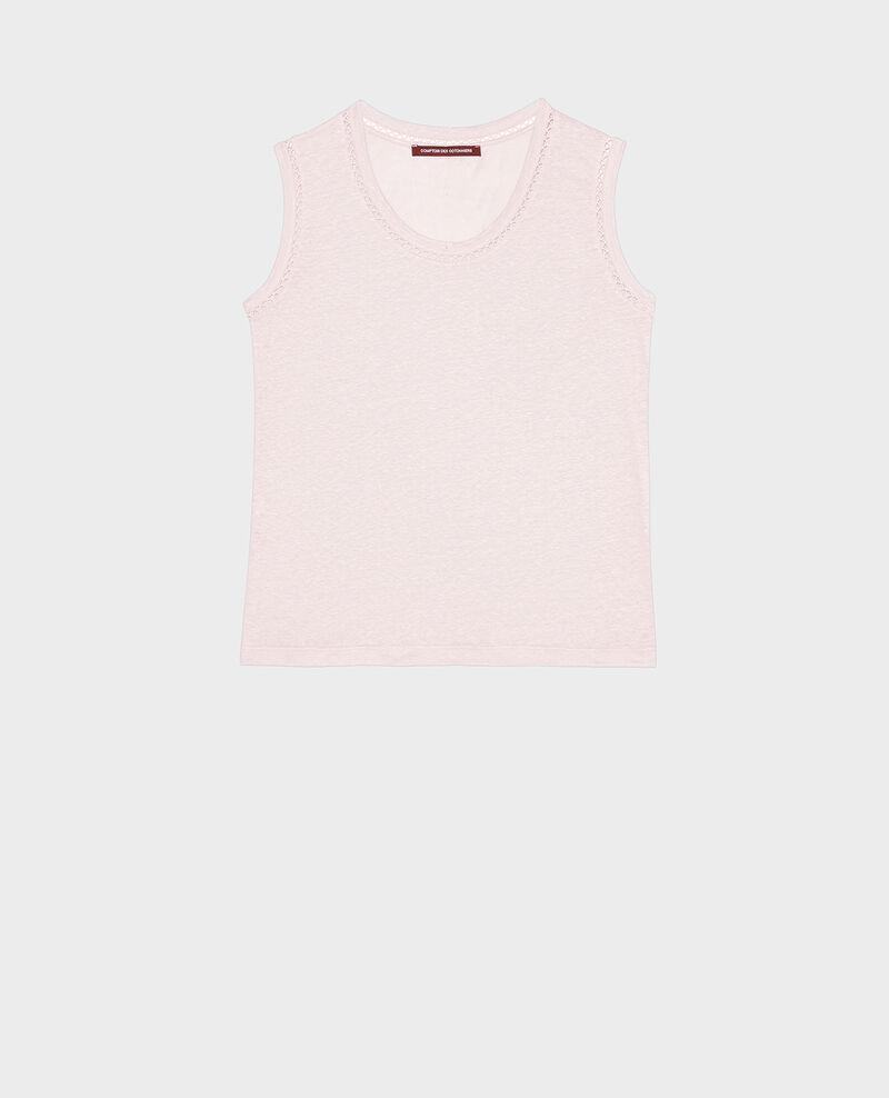 Linen jersey tank top Primrose pink Lespa