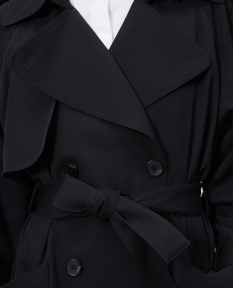 Oversize soft wool trench Black beauty Laiko