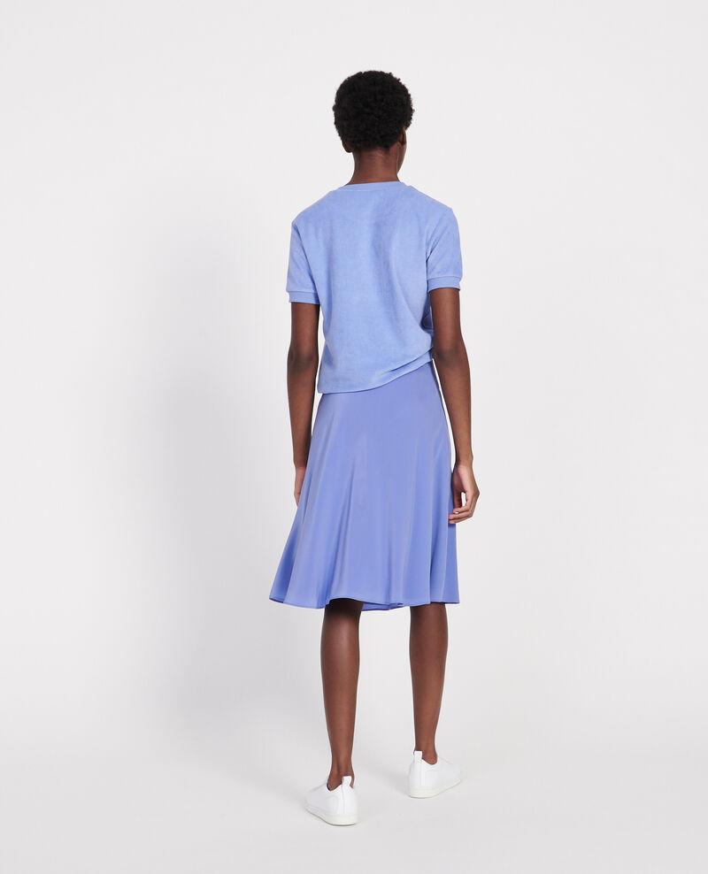 Flared silk bias-cut skirt Baja blue Lido