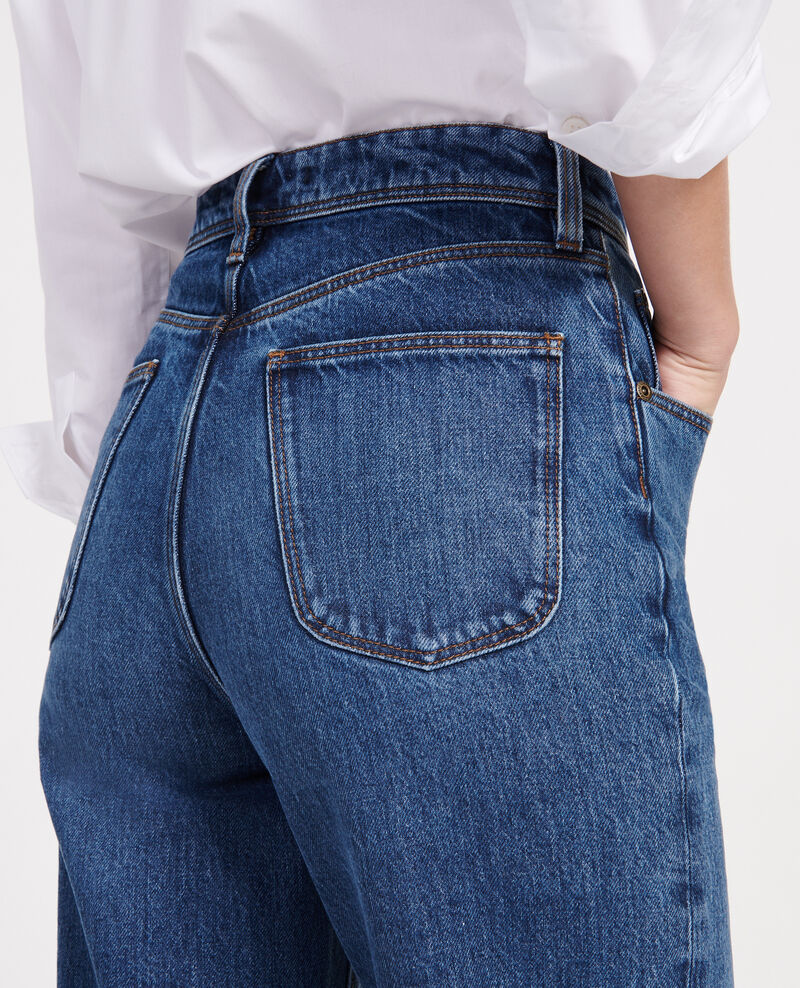 Straight-cut high-waisted jeans Denim medium wash Leodou