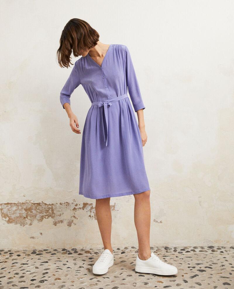 Midi silk-blend dress Purple blue Idalie