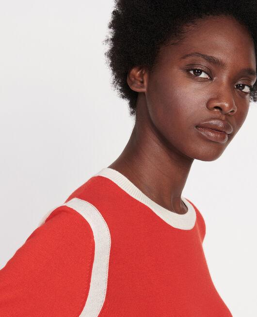 Silk cashmere blend jumper FIERY RED BUTTERCREAM