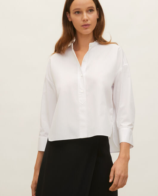 Collarless shirt in cotton poplin OPTICAL WHITE