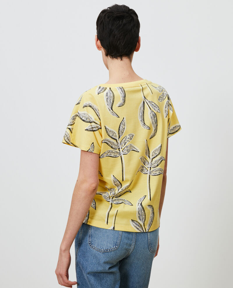 Round neck cotton t-shirt Prt bot lemon Nimeric