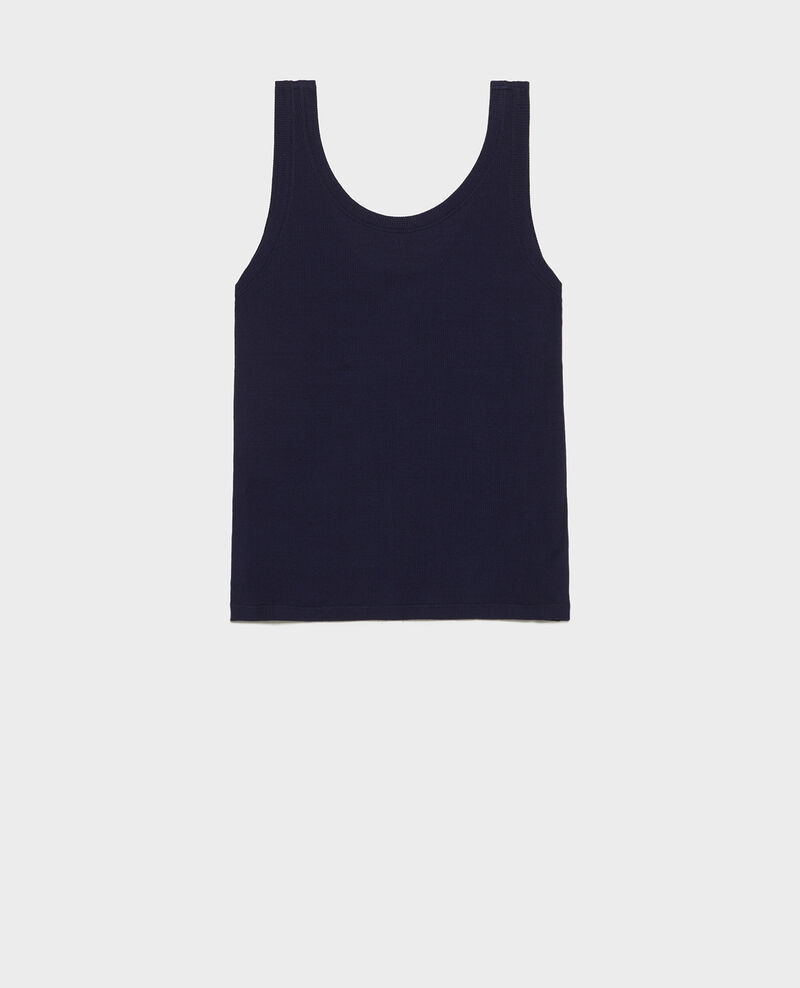 Mercerised cotton ribbed jersey vest Maritime blue Locon