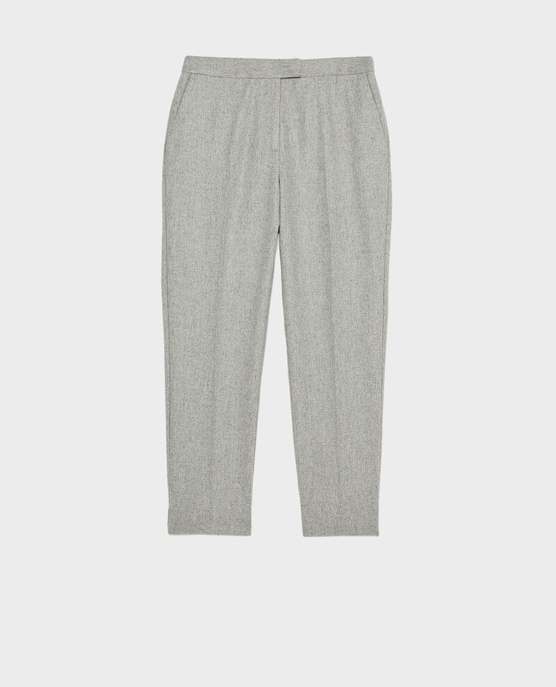 Tapered wool 7/8 trousers  MARGUERITE  Light grey melange Mokyo
