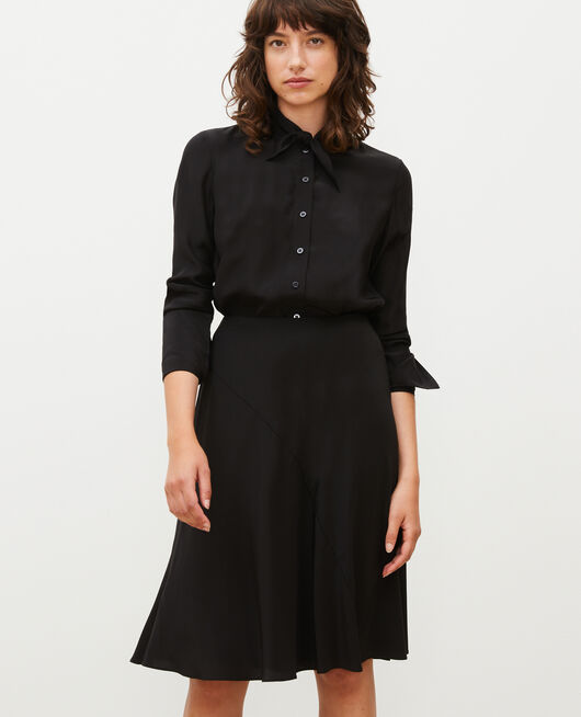 Flared silk bias-cut skirt BLACK BEAUTY