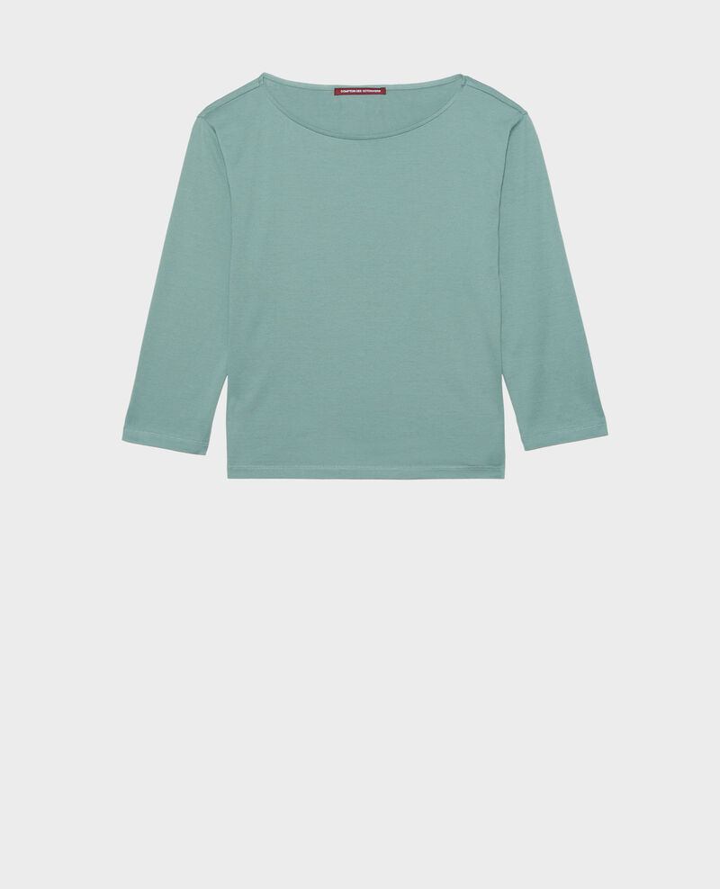 Boatneck long-sleeve cotton t-shirt Treillis Lotel