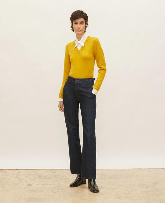 Wide dark denim jeans DENIM RINSE