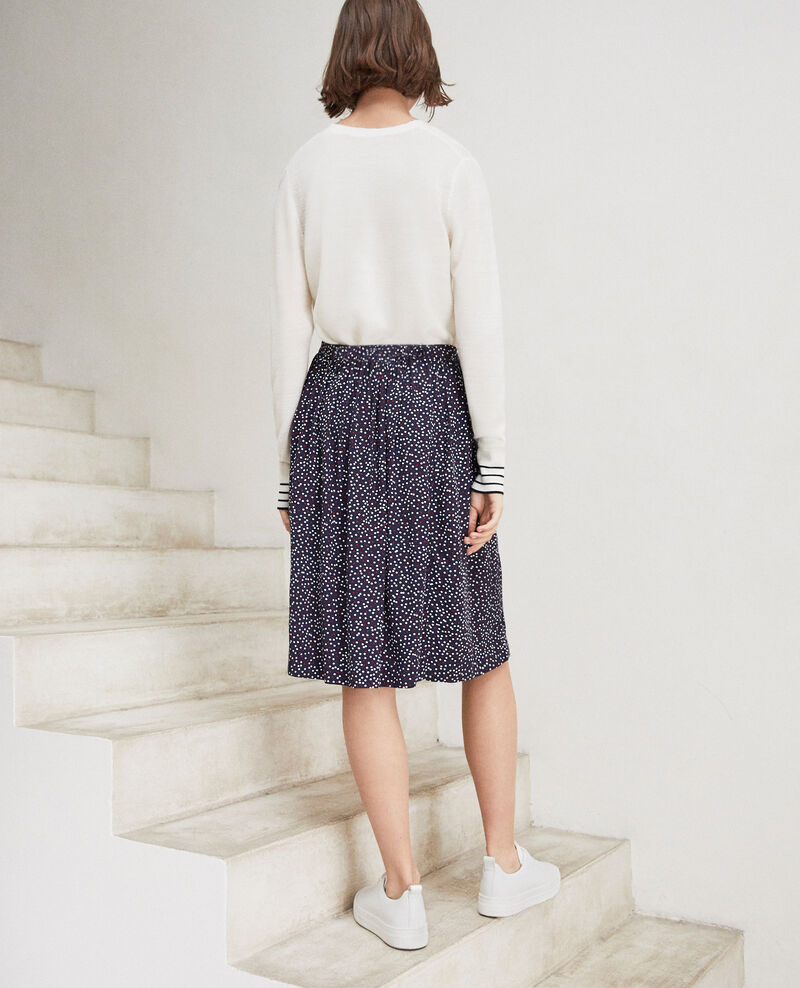 Midi skirt Dot print navy Irloge