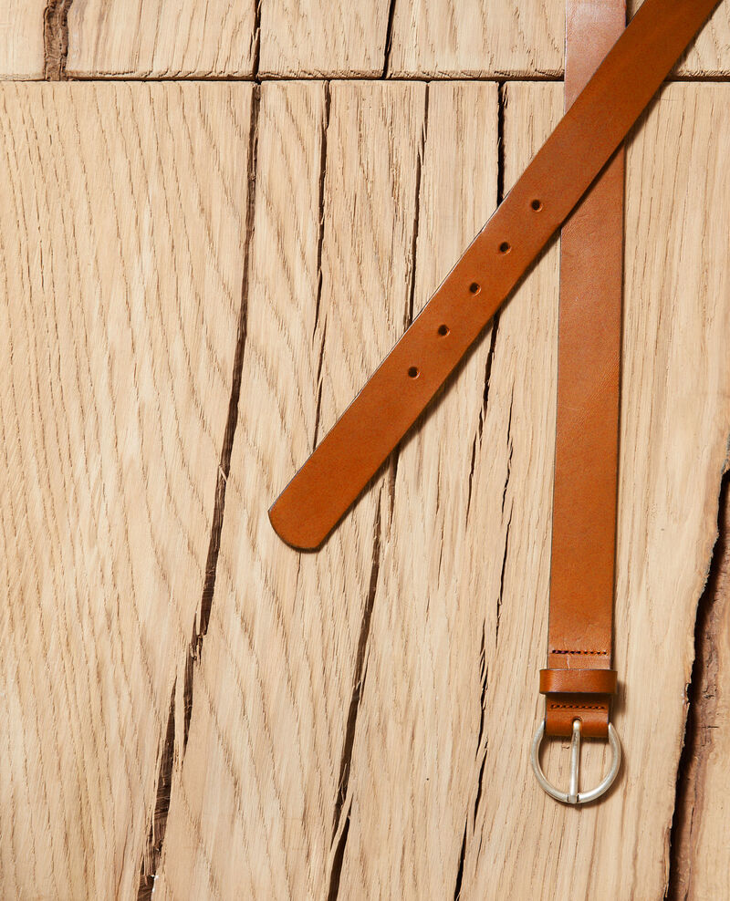 Smooth leather belt, medium model Camel Girouette